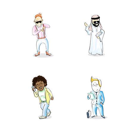 mix race: Cartoon Man People Set Businessman Arab Mix Race African American Person Character Flat