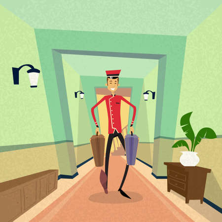 travel suitcase: Bell Boy Carry Suitcase Indoor Hotel Porter Flat Vector Illustration
