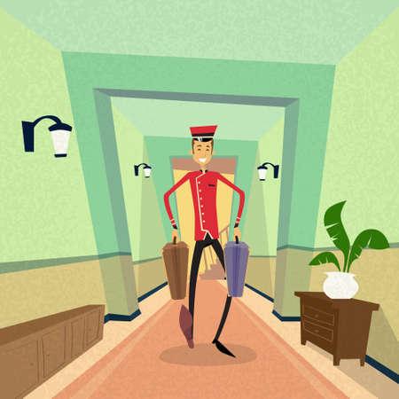 cartoon suitcase: Bell Boy Carry Suitcase Indoor Hotel Porter Flat Vector Illustration