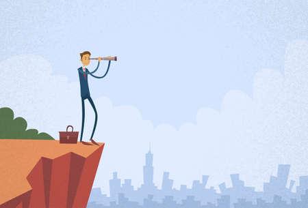 mountain view: Cartoon Businessman Looking Skyglass Through Telescope Standing on Top Mountain Cliff Flat Vector Illustration Illustration