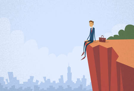 cliff: Businessman Sitting Top Cliff Rock Mountain Concept Flat Vector Illustration