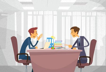 Dwa człowiek biznesu rozmawia Omawiając, biuro Biznesmeni Czat Sitting Siedziba Koncepcja komunikacji Flat Ilustracje wektorowe