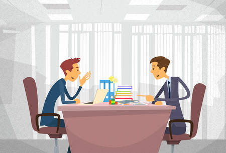 two men talking: Two Business Man Talking Discussing, Businessmen Chat Sitting Office Desk Concept Communication Flat