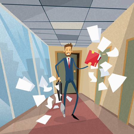 fly around: Businessman Run From Office Document Papers Fly Around Concept Flat  Illustration