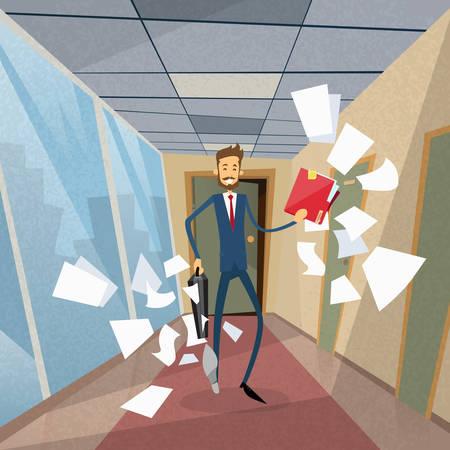 mosca: Empresario Ejecutar desde documentos de Office Papers volar alrededor Concepto Flat