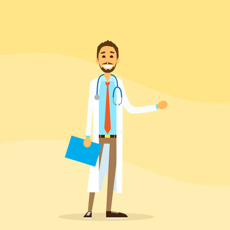 medical doctor: Medical Doctor Hold Hand With Empty Copy Space, Concept Advertisement Flat