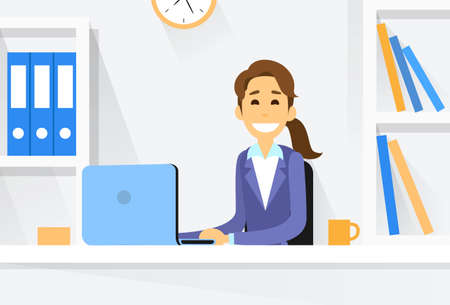 woman laptop: Business Woman Sitting at Desk in Office Working Laptop Computer Vector Illustration