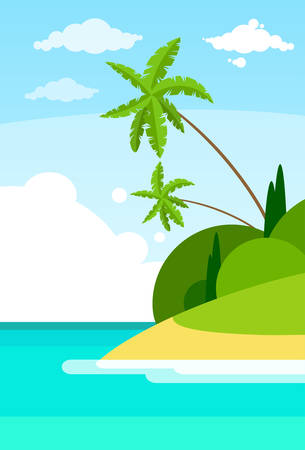 Tropical Beach Island Palm Tree Ocean Summer Vacation Flat  Illustration