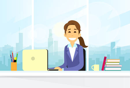girl laptop: Business Woman Sitting at Desk in Office Working Laptop Computer Illustration