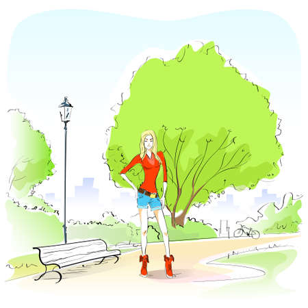 draw a sketch: Fashion Woman Hand Draw Sketch Park Bench Green Tree Outdoor  Illustration
