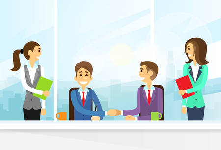 Businesspeople Handshake, Colleagues Shaking Hands Meeting Signing Agreement Office Flat Illustration