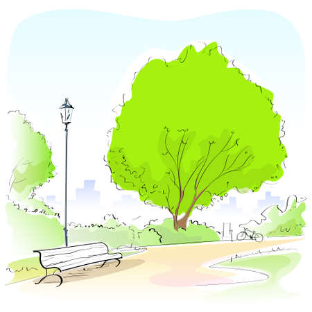 park bench: Fashion Woman Hand Draw Sketch Park Bench Green Tree Outdoor  Illustration