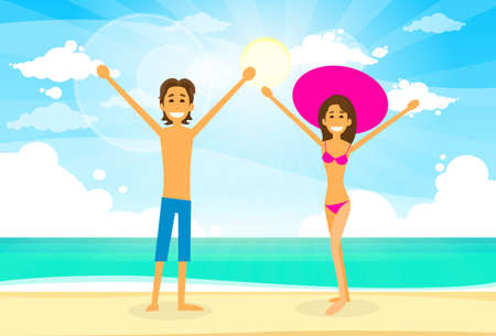 romantic couple: Couple On Summer Vacation Holiday Tropical Ocean Island With Palm Tree Flat  Illustration