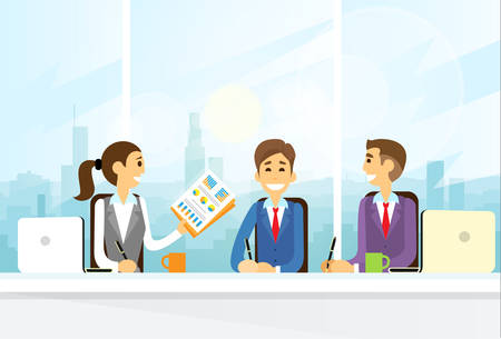 work office: Business People Group Sitting at Office Desk Flat Vector Illustration