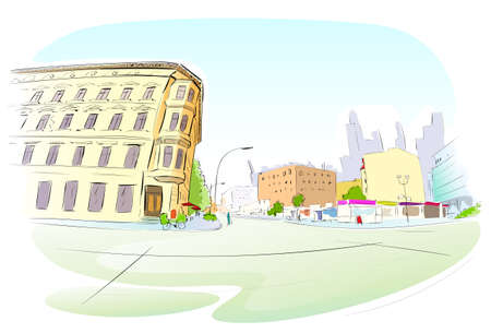 town square: Street City Hand Draw Sketch Colorful Buildings