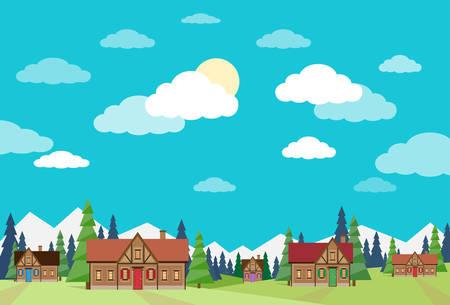 green grass and blue sky: Village Summer Landscape Houses Green Grass Blue Sky Flat