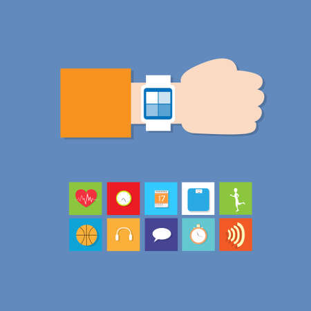 infographics touchscreen: Smart Watch Technology Electronic Device Apps Icons Set Thin Line Simple Colorful Collection Minimalistic Style