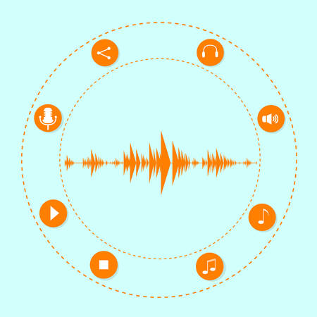 audio wave: Audio Wave Music Stream Icon With Sound Microphone Flat Vector Illustration
