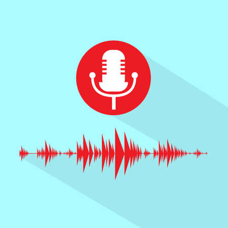 red sound: Microphone Red Icon With Sound Wave Flat Design Vector Illustration