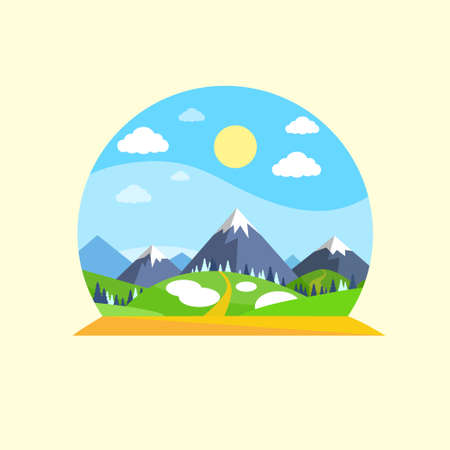 eco tourism: Mountain Green Grass Sun Landscape Forest Park Blue Sky Circle Concept Logo Flat Vector Illustration Illustration
