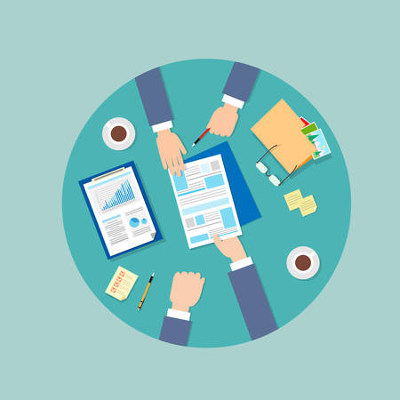 signing papers: Business People Folder Document Papers Signing Up Contract Agreement, Businesspeople Workplace Top Angle Above View Hands Office Desk Vector Illustration Illustration
