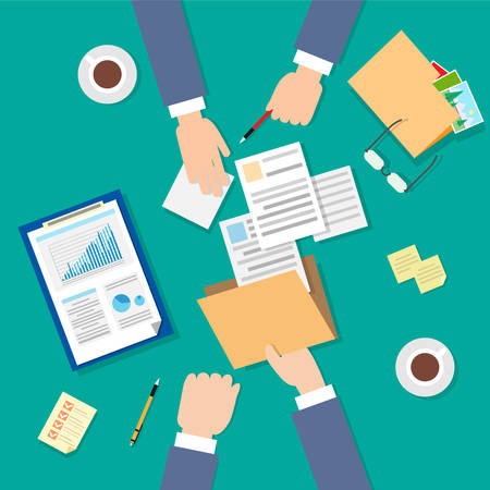 signing papers: Business People Folder Document Papers Signing Up Contract Agreement, Businesspeople Workplace Top Angle Above View Hands Office Desk