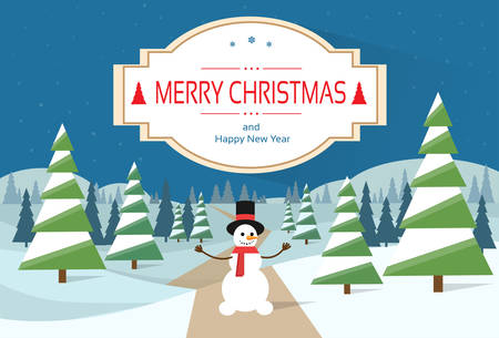 happy new year banner: Snowman Standing Winter Snow Forest Road Greeting Card With Merry Christmas And Happy New Year Banner Flat