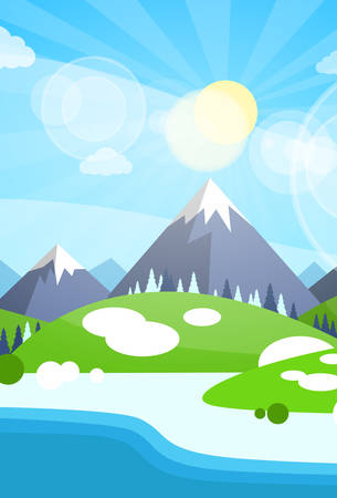 snow trees: Winter Mountain River Landscape Background, Snow Trees Flat Vector Illustration Illustration