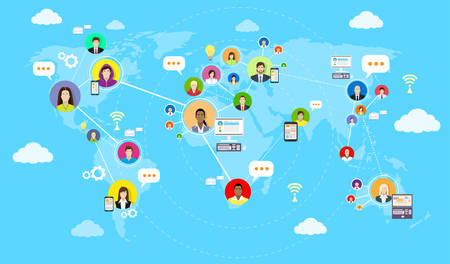 Social Media Communication World Map Concept Internet Network Connection People Flat Vector Illustration