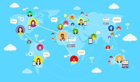 Collegamento Social Media Communication World Map Concept Internet Network Persone illustrazione vettoriale piatto