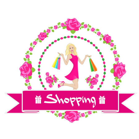 fashion shoes: Shopping Woman With Bags Wear Pink Dress Rose Flower Sale Banner