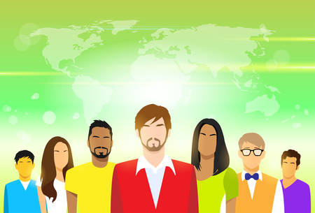 Group of People with Copy Space Casual Young Man and Woman Students Portrait Flat Design Vector over Blur Green Abstract Background