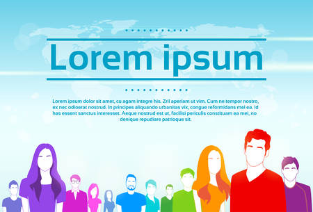 Group of People Colorful Silhouette Flat Illustration