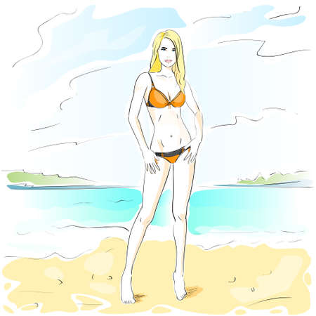 sexy bikini girl: Woman On Summer Beach, Long Leg Blonde Sexy Girl Bikini Swimsuit Cartoon Sketch  Illustration