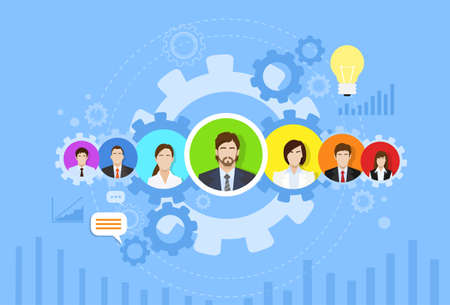 collaboration team: Business People Group Icon Cog Wheel Banner Concept Teamwork Infographic Flat Design