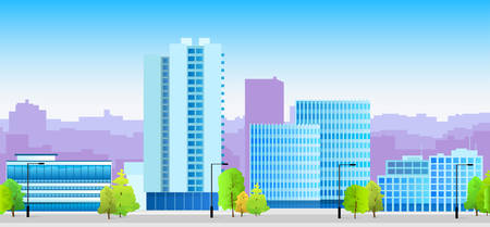 skylines: City Skylines Blue Illustration Architecture Modern Building Cityscape