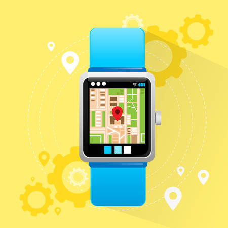watch city: Smart Watch Application City Map Navigation Search Street Electronic Device Icon Flat Design