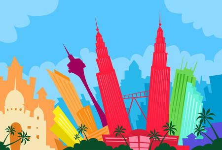 クアラルンプール マレーシア抽象スカイライン シティ超高層ビル シルエット フラット カラフルなイラスト  イラスト・ベクター素材