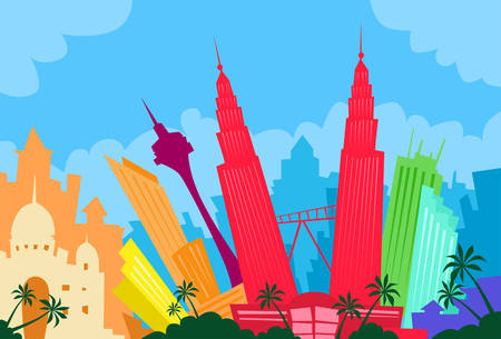 Kuala Lumpur Malaysia Abstract Skyline City Skyscraper Silhouette Flat Colorful Illustration
