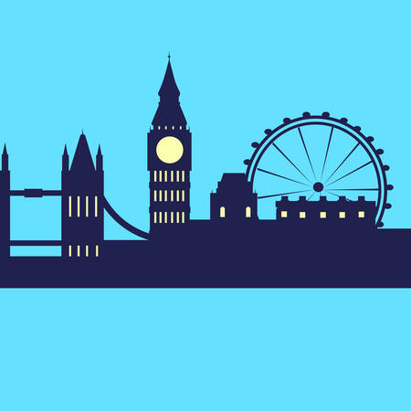 london skyline: London Abstract Skyline City Skyscraper Silhouette Flat Colorful Illustration