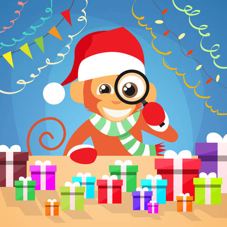 santa clause hat: Christmas Monkey Choose Gift Box on Desk New Year Present Concept Santa Clause Hat Magnifying Glass Concept Flat Illustration