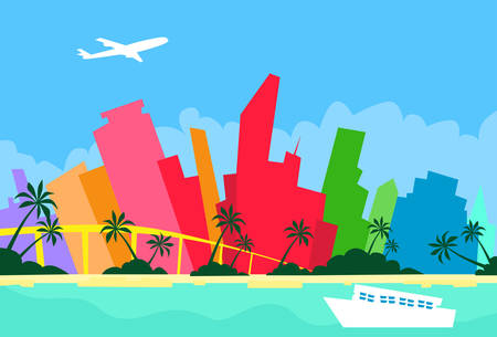 megalopolis: Miami Abstract Skyline City Skyscraper Silhouette Flat Colorful Illustration
