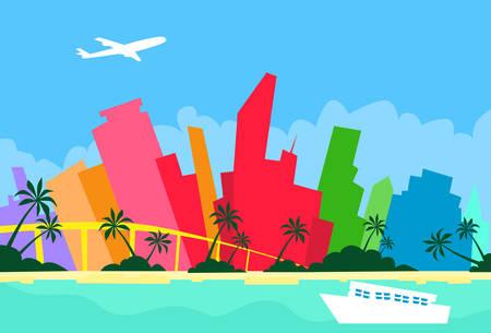Miami Abstract Skyline City Skyscraper Silhouette Flat Colorful Illustration
