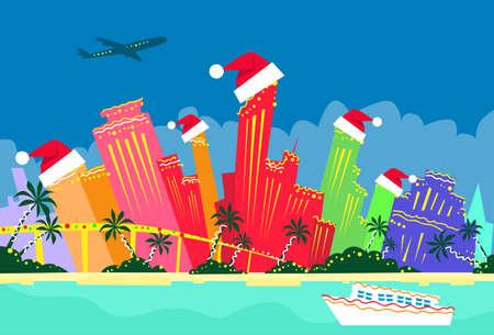 miami florida: Miami Florida United States Abstract Skyline City Skyscraper Christmas Silhouette New Year Flat Colorful Illustration