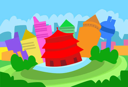 beijing: Beijing Abstract Skyline City Skyscraper Silhouette Flat Colorful Illustration Illustration