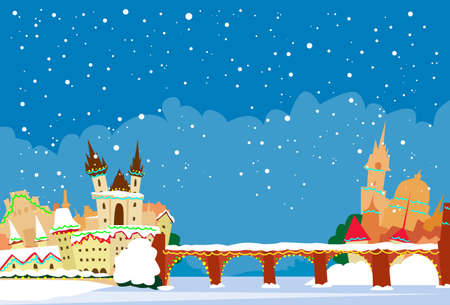 Prague Czech Republic Winter Snow New Year Skyline City Christmas Abstract Silhouette Flat Illustration