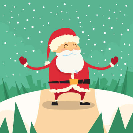 snow forest: Santa Claus Happy Standing Winter Snow Forest Road Christmas Holiday Flat Illustration Illustration