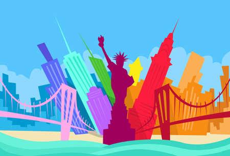 ニューヨーク抽象スカイライン都市高層ビルのシルエット フラット カラフルなイラスト