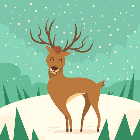 renna: Animal Cartoon cervi Renna Winter Forest piatto Illustrazione Vettoriali