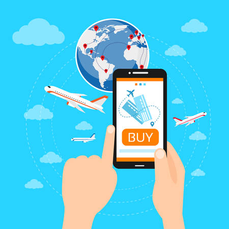 travel phone: Buy Ticket Online Smart Phone Application Globe World Map Travel Vacation Trip Booking Air Plane Flight Flat Vector Illustration